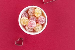 Hearts and jelly candies