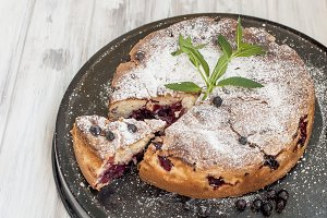 homemade pie with black currant