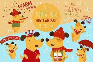 Vector Set of Cute Yellow Dogs
