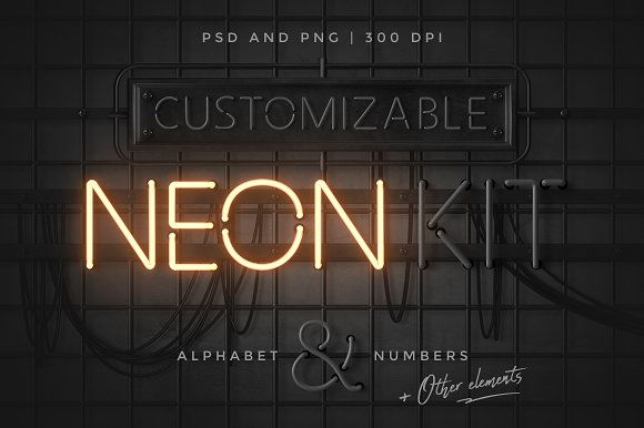 Neon alphabet kit graphic objects creative market thecheapjerseys Gallery