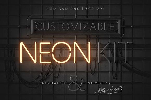 Neon alphabet kit graphic objects creative market altavistaventures Gallery