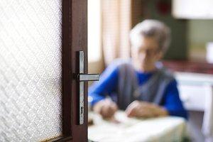 Senior woman at home.