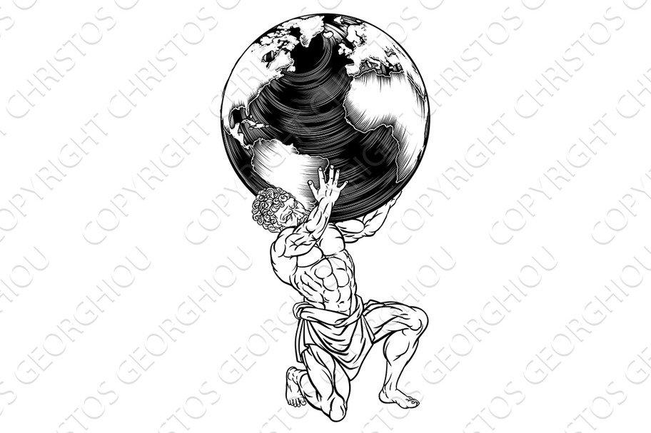 Atlas Titan Holding Globe Greek Myth Illustration Illustrations