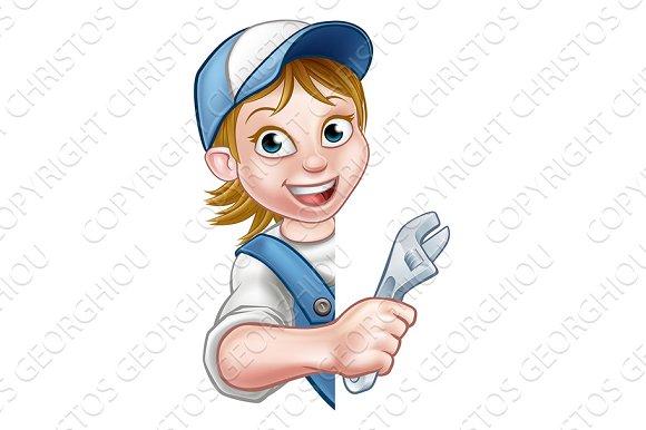 Plumber Mechanic Woman Cartoon Character