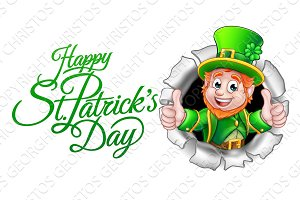 Cartoon Leprechaun Happy St Patricks Day