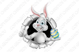 Easter Bunny Rabbit Thumbs Up Holding Egg
