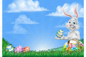 Easter Bunny Rabbit Egg Hunt Background