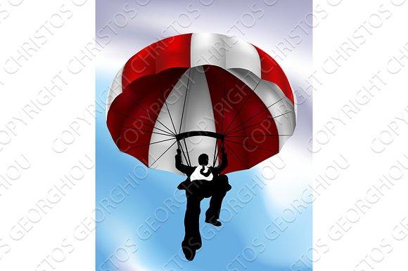 Parachute Flying Businessman Concept