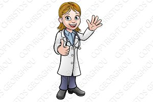 Cartoon Female Doctor Giving Thumbs Up