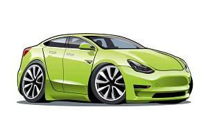 Cartoon electric car