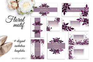 Floral Motif, invitation templates