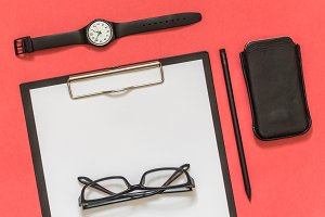 Flat lay black business accessories
