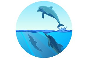 Dolphin jumping out of water in deep blue sea, vector