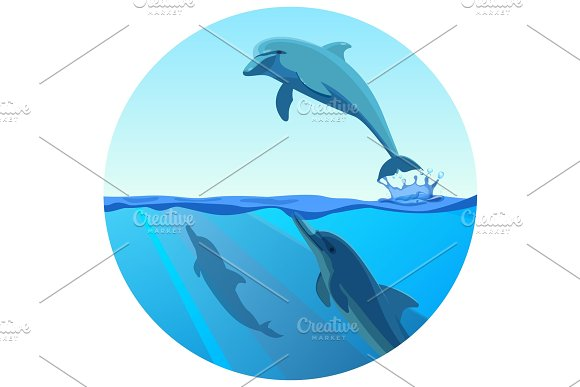 Dolphin Jumping Out Of Water In Deep Blue Sea Vector
