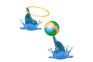 Cute trained dolphins playing with hoop and color ball vector