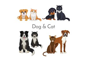 Dog and cat promotional poster with grown animal and babies