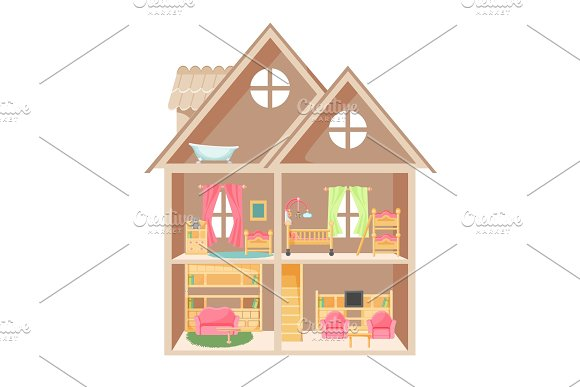 Doll House With Two Storeys And Little Furniture