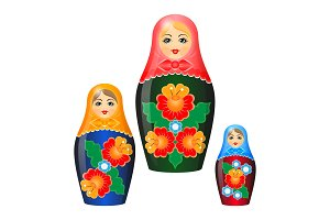 Wooden nesting dolls in shawls and ethnic floristic patterns