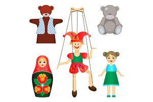 Soft toys and dolls of wood and plastic set