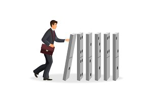 Businessman with briefcase that drops down domino figures