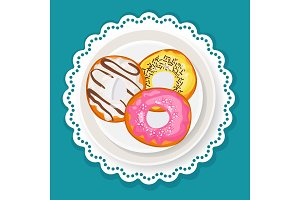 Delicious sweet donuts in glaze on plate with wavy edge