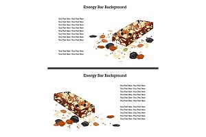 Healthy crunchy granola and nuts bar over white background. Text space