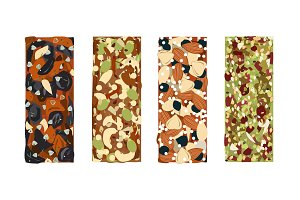 Various vector granola bars isolated on white background. Energy bars vector set