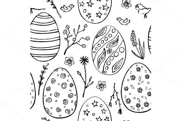 Seamless Easter Pattern With Doodle Ornamental Eggs And Floral Motifs Vintage Spring Holiday Background Black And White Sketch Eggs Flower And Branches