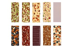 Top view of hand drawn healthy and energy bars, nuts, granola, muesli or cereal. Set of energy, sport, breakfast and protein bars on white background. Vector