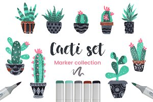 Cactuses Set, Marker Collection