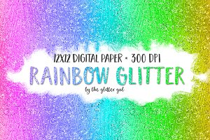 Glitter Digital Paper - Rainbow