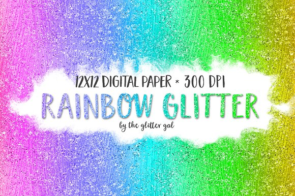 Glitter Digital Paper Rainbow