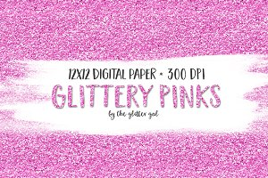 Pinks Digital Glitter Paper