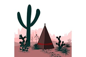 Vector banner with desert, tepee, cactus silhouetted mountains. Wild west. Cartoon illustration. Panorama.