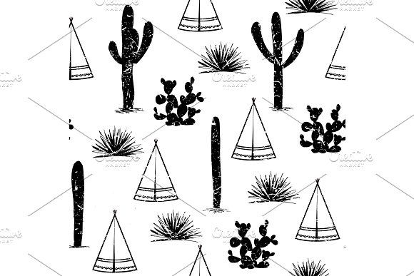 Indian Tribal Background Simple Flat Wigwam Cactus And Grass Seamless Pattern Landscape Minimalist Design Cartoon Illustration