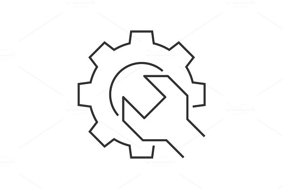 Wrench Gear Outline Icon