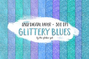 Blues Glitter Digital Paper