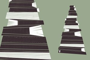 Retro Illustration of a Book Pile