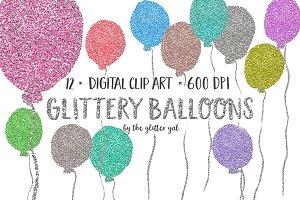 Glitter Balloons Clip Art Set
