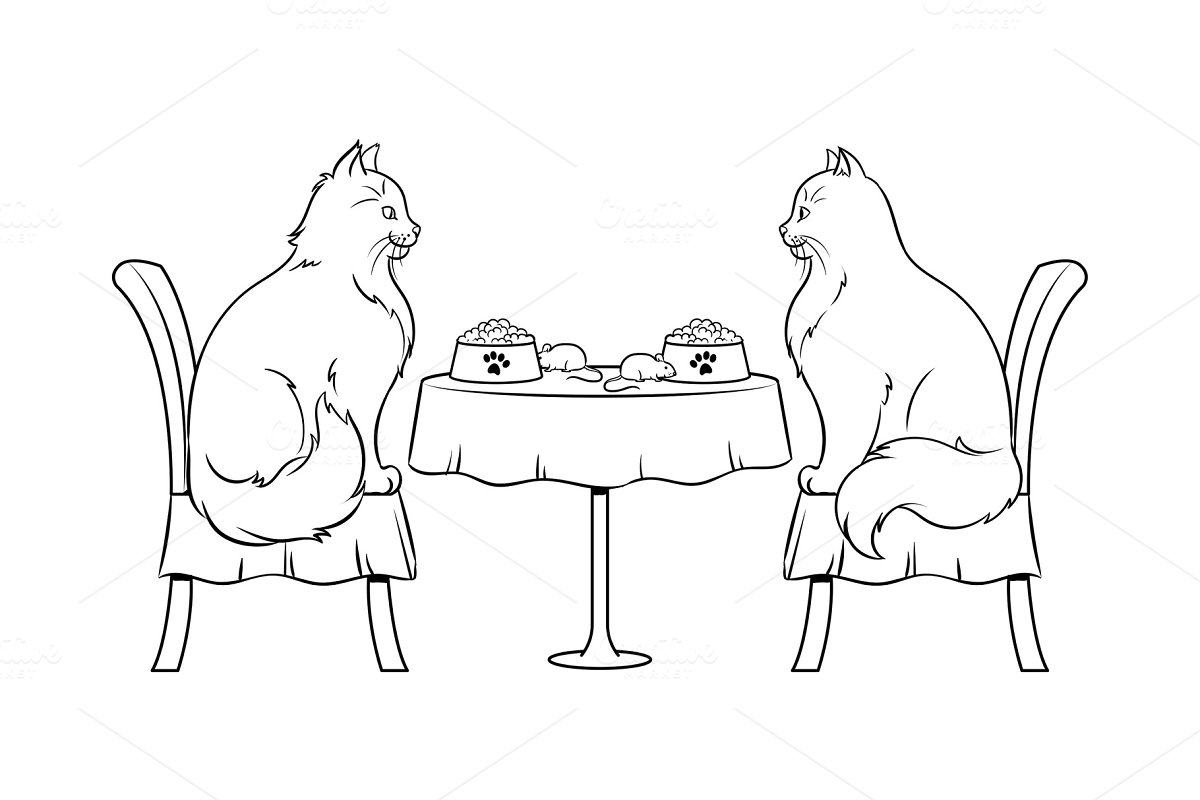 Cats on date in restaurant coloring book vector