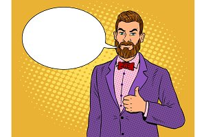 Man with beard thumbs up pop art vector