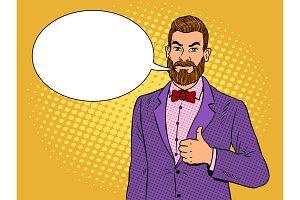 Man with beard thumbs up pop art vector