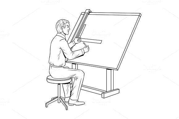 Old school engineer coloring book vector