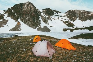 Camping tents in Mountains