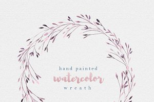 Watercolor branches & twigs wreath