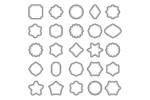 set of outline badge shape