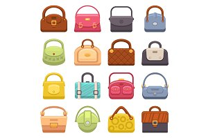 Woman Fashion Bags Icons Set