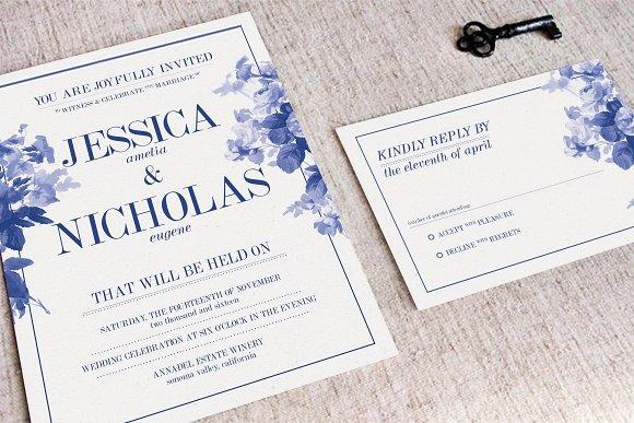 china blue wedding suite invitation templates creative market