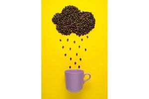 Raining coffee.