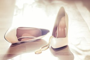 Wedding white shoes, pearl necklace